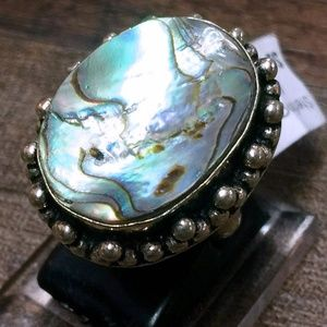 Jewelry - Abalone Shell Sterling Silver 925 Huge Ring 6.5